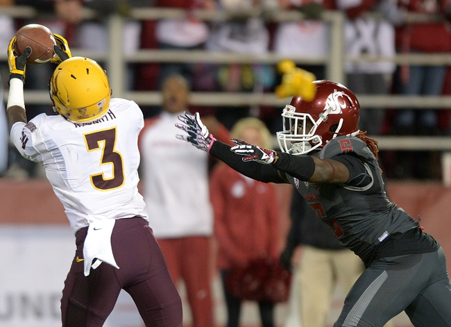 Oct 31, 2013; Pullman, WA, USA; Arizona State Sun Devils receiver Richard Smith (3) is defended by Washington State Cougars cornerback Damante Horton (6) on a 51-yard touchdown reception in the second quarter at Martin Stadium. Mandatory Credit: Kirby Lee-USA TODAY Sports