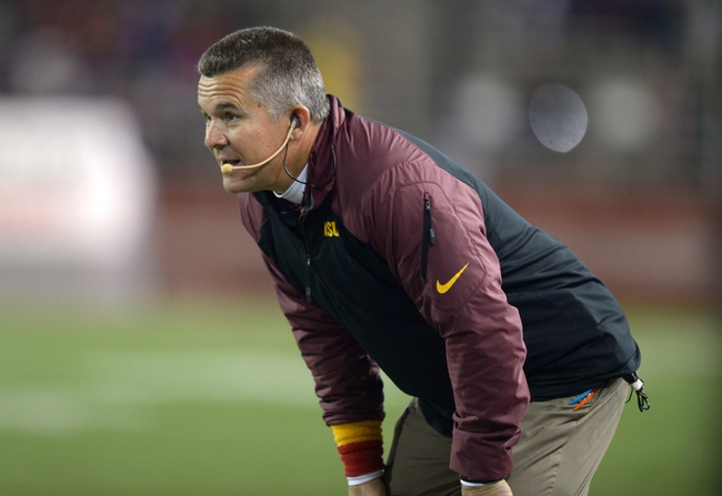 Oct 31, 2013; Pullman, WA, USA; Arizona State Sun Devils coach Todd Graham reacts in the second quarter against the Washington State Cougars at Martin Stadium. Mandatory Credit: Kirby Lee-USA TODAY Sports