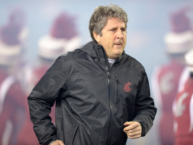 Oct 31, 2013; Pullman, WA, USA; Washington State Cougars coach Mike Leach reacts during the game against the Arizona State Sun Devils at Martin Stadium. Mandatory Credit: Kirby Lee-USA TODAY Sports