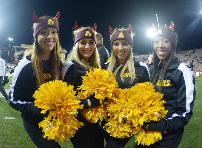 Oct 31, 2013; Pullman, WA, USA; Arizona State Sun Devils cheerleaders pose during the game against the Washington State Cougars at Martin Stadium. Arizona State defeated Washington State 55-21. Mandatory Credit: Kirby Lee-USA TODAY Sports