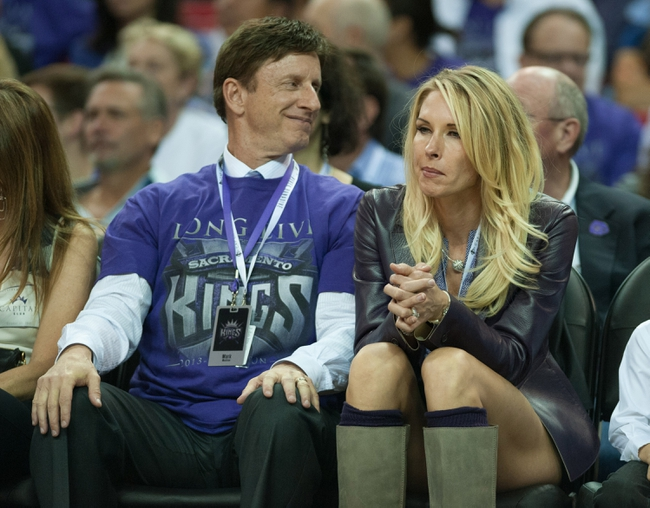 Oct 30, 2013; Sacramento, CA, USA; Sacramento Kings owner Mark Mastrov and wife Mindee Mastrov during the game between the Sacramento Kings and Denver Nuggets at Sleep Train Arena. Mandatory Credit: Ed Szczepanski-USA TODAY Sports