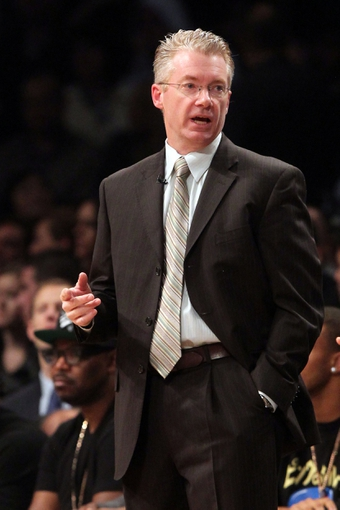 Nov 1, 2013; Brooklyn, NY, USA; Brooklyn Nets acting head coach Joe Prunty coaches against the Miami Heat during the first quarter of a game at Barclays Center. Mandatory Credit: Brad Penner-USA TODAY Sports