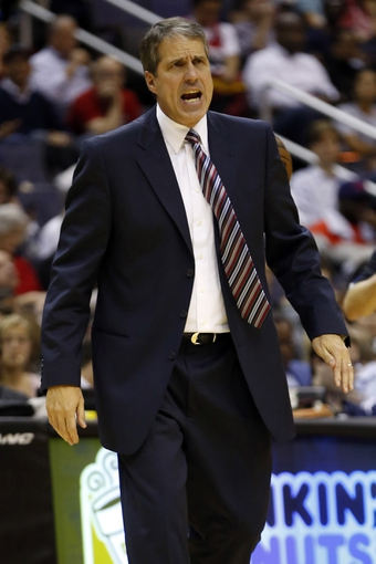 Nov 1, 2013; Washington, DC, USA; Washington Wizards head coach Randy Wittman yells from the sidelines against the Philadelphia 76ers in the second quarter at Verizon Center. The 76ers won 109-102. Mandatory Credit: Geoff Burke-USA TODAY Sports