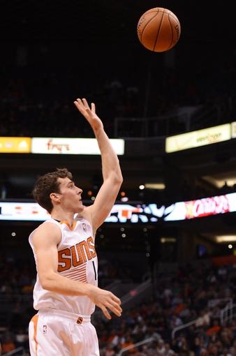 Nov 1, 2013; Phoenix, AZ, USA; Phoenix Suns guard Goran Dragic (1) lays up the ball against the Utah Jazz in the first half at US Airways Center. Mandatory Credit: Jennifer Stewart-USA TODAY Sports