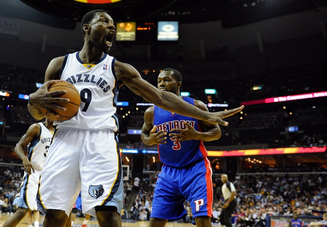Nov 1, 2013; Memphis, TN, USA; Memphis Grizzlies shooting guard Tony Allen (9) reacts after stealing the ball from the Detroit Pistons during the second half at FedExForum. Memphis Grizzlies beat the Detroit Pistons 111 to 108. Mandatory Credit: Justin Ford-USA TODAY Sports