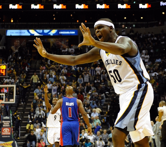 Nov 1, 2013; Memphis, TN, USA; Memphis Grizzlies power forward Zach Randolph (50) reacts to a call against Detroit Pistons during the second half at FedExForum. Memphis Grizzlies beat the Detroit Pistons 111 to 108. Mandatory Credit: Justin Ford-USA TODAY Sports