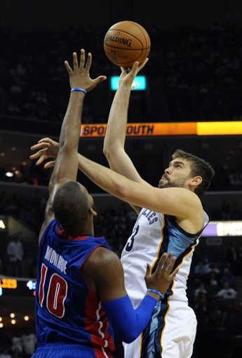 Nov 1, 2013; Memphis, TN, USA; Memphis Grizzlies center Marc Gasol (33) shoots the ball over Detroit Pistons center Greg Monroe (10) the second half at FedExForum. Memphis Grizzlies beat the Detroit Pistons 111 to 108. Mandatory Credit: Justin Ford-USA TODAY Sports