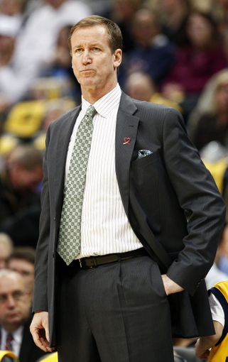 Nov 1, 2013; Denver, CO, USA; Portland Trail Blazers head coach Terry Stotts reacts in the first quarter against the Denver Nuggets at the Pepsi Center. The Trail Blazers won 113-98. Mandatory Credit: Isaiah J. Downing-USA TODAY Sports