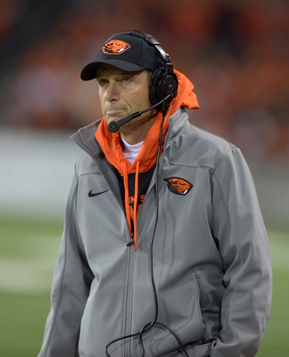 Nov 1, 2013; Corvallis, OR, USA; Oregon State Beavers coach Mike Riley reacts during the game against the Southern California Trojans at Reser Stadium. USC defeated Oregon State 31-14.  Mandatory Credit: Kirby Lee-USA TODAY Sports