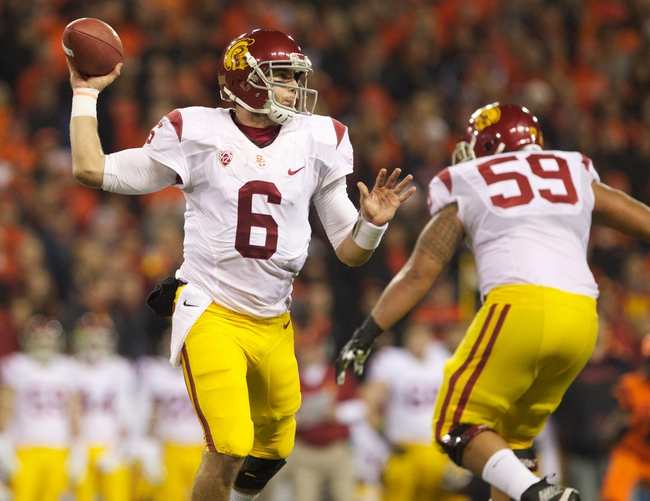 Nov 1, 2013; Corvallis, OR, USA; USC Trojans quarterback Cody Kessler (6) throws to a receiver against Oregon State Beavers in the second half at Reser Stadium. Mandatory Credit: Jaime Valdez-USA TODAY Sports