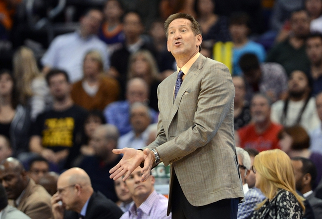 Nov 1, 2013; Phoenix, AZ, USA; Phoenix Suns head coach Jeff Hornacek reacts from the sidelines in the game against the Utah Jazz at US Airways Center. The Suns defeated the Jazz 87-84.  Mandatory Credit: Jennifer Stewart-USA TODAY Sports
