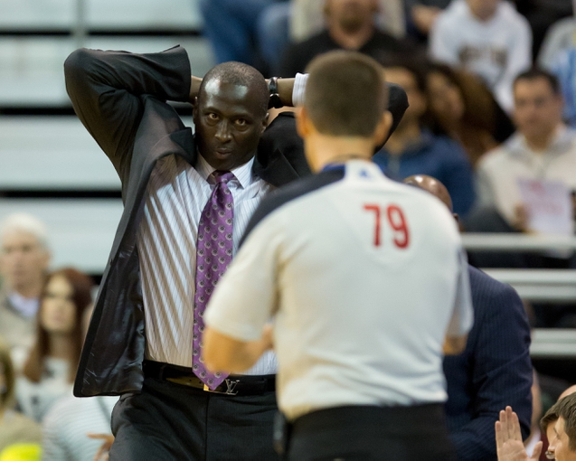 Oct 30, 2013; Salt Lake City, UT, USA; Utah Jazz head coach Tyrone Corbin reacts to a call during the second half against the Oklahoma City Thunder at EnergySolutions Arena. Oklahoma City won 101-98. Mandatory Credit: Russ Isabella-USA TODAY Sports