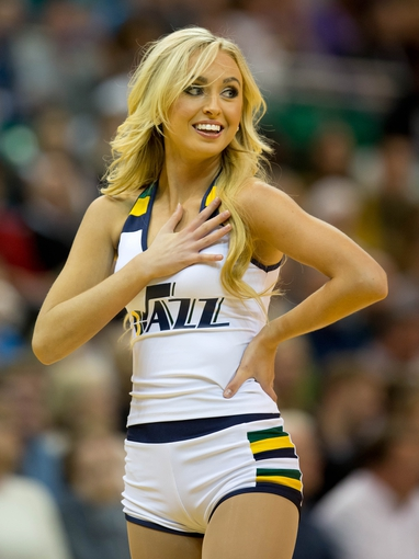 Oct 30, 2013; Salt Lake City, UT, USA; A Utah Jazz dancer performs during the second half of an NBA game against the Oklahoma City Thunder at EnergySolutions Arena. Oklahoma City won 101-98. Mandatory Credit: Russ Isabella-USA TODAY Sports