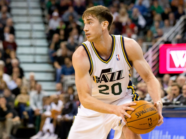 Oct 30, 2013; Salt Lake City, UT, USA; Utah Jazz small forward Gordon Hayward (20) controls the ball during the second half against the Oklahoma City Thunder at EnergySolutions Arena. Oklahoma City won 101-98. Mandatory Credit: Russ Isabella-USA TODAY Sports