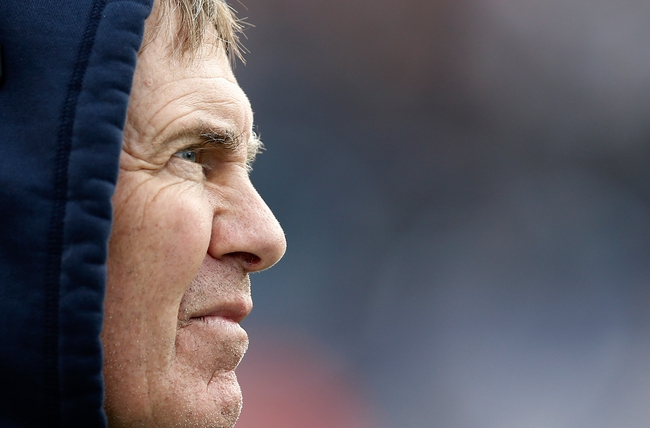 Oct 27, 2013; Foxborough, MA, USA; New England Patriots head coach Bill Belichick during the first quarter against the Miami Dolphins at Gillette Stadium. Mandatory Credit: Winslow Townson-USA TODAY Sports