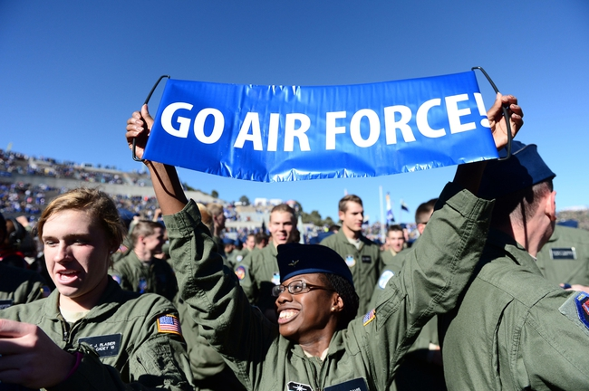 Nov 2, 2013; Colorado Springs, CO, USA; Air Force Falcons cadets react to the win over the Army Black Knights at Falcon Stadium. The Falcons defeated the Black Knights 42-28. Mandatory Credit: Ron Chenoy-USA TODAY Sports