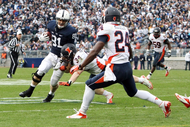 Nov 2, 2013; University Park, PA, USA; Penn State Nittany Lions tight end Adam Breneman (81) runs the ball during overtime against the Illinois Fighting Illini at Beaver Stadium. Penn State defeated Illinois 24-17. Mandatory Credit: Matthew O'Haren-USA TODAY Sports