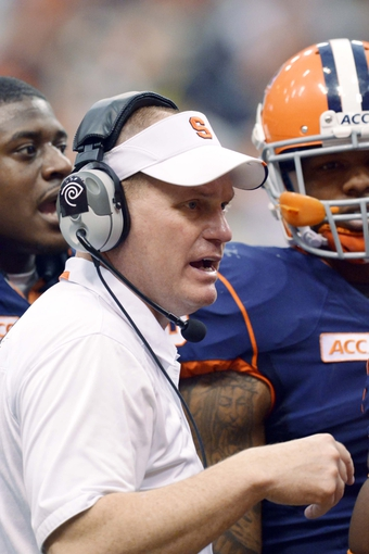 Nov 2, 2013; Syracuse, NY, USA; Syracuse Orange head coach Scott Shafer instructs his team in the fourth quarter of a game at the Carrier Dome. Mandatory Credit: Mark Konezny-USA TODAY Sports