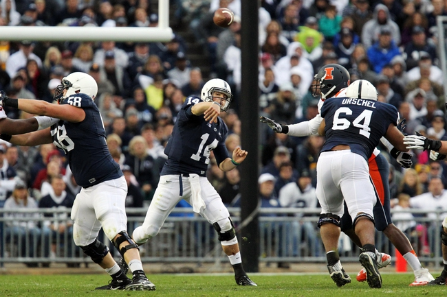 Nov 2, 2013; University Park, PA, USA; Penn State Nittany Lions quarterback Christian Hackenberg (14) throws a pass during the fourth quarter against the Illinois Fighting Illini at Beaver Stadium. Penn State defeated Illinois 24-17. Mandatory Credit: Matthew O'Haren-USA TODAY Sports