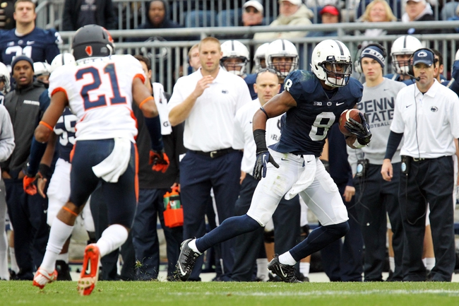 Nov 2, 2013; University Park, PA, USA; Penn State Nittany Lions wide receiver Allen Robinson (8) runs the ball during the fourth quarter against the Illinois Fighting Illini at Beaver Stadium. Penn State defeated Illinois 24-17. Mandatory Credit: Matthew O'Haren-USA TODAY Sports
