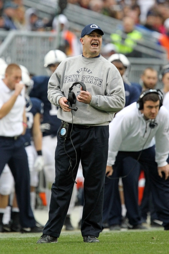 Nov 2, 2013; University Park, PA, USA; Penn State Nittany Lions head coach Bill O'Brien reacts from the sideline during the fourth quarter against the Illinois Fighting Illini at Beaver Stadium. Penn State defeated Illinois 24-17. Mandatory Credit: Matthew O'Haren-USA TODAY Sports