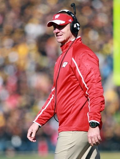 Nov 2, 2013; Iowa City, IA, USA; Wisconsin coach Gary Andersen looks on during their game with the Iowa Hawkeyes at Kinnick Stadium.  Wisconsin beat Iowa 28-9. Mandatory Credit: Reese Strickland-USA TODAY Sports