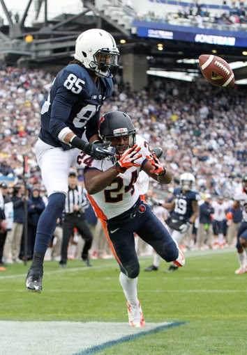 Nov 2, 2013; University Park, PA, USA; Penn State Nittany Lions wide receiver Brandon Felder (85) is unable to complete the pass during the fourth quarter against the Illinois Fighting Illini at Beaver Stadium. Penn State defeated Illinois 24-17. Mandatory Credit: Matthew O'Haren-USA TODAY Sports