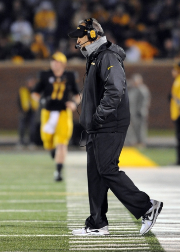 Nov 2, 2013; Columbia, MO, USA; Missouri Tigers head coach Gary Pinkel walks on the sidelines during a timeout in the first half of the game against the Tennessee Volunteers at Faurot Field. Mandatory Credit: Denny Medley-USA TODAY Sports