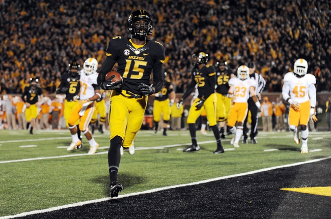 Nov 2, 2013; Columbia, MO, USA; Missouri Tigers wide receiver Dorial Green-Beckham (15) runs in for a touchdown during the first half of the game against the Tennessee Volunteers at Faurot Field. Mandatory Credit: Denny Medley-USA TODAY Sports