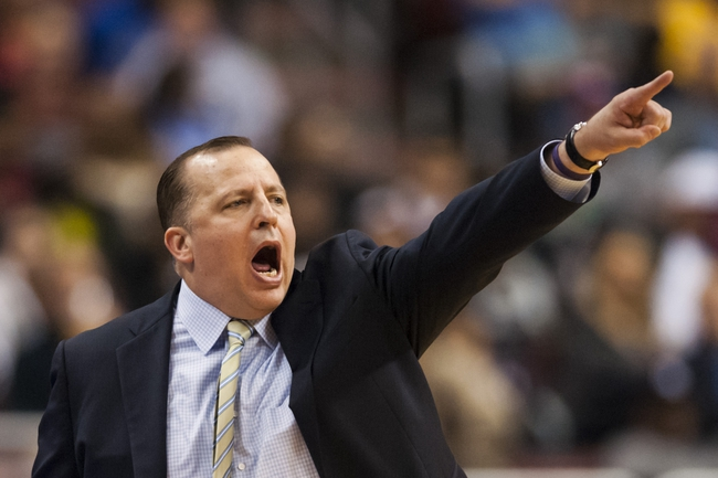 Nov 2, 2013; Philadelphia, PA, USA; Chicago Bulls head coach Tom Thibodeau during the third quarter against the Philadelphia 76ers at Wells Fargo Center. The Sixers defeated the Bulls 107-104. Mandatory Credit: Howard Smith-USA TODAY Sports