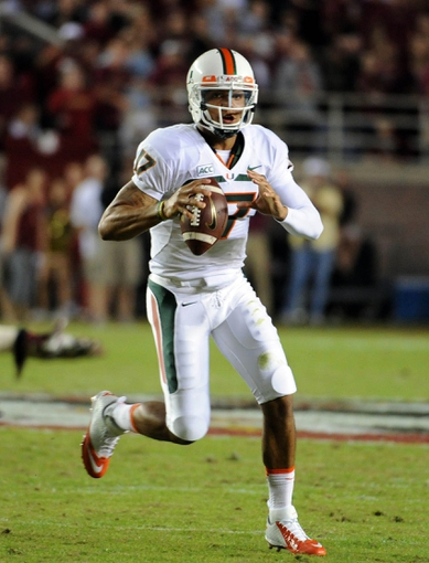 Nov 2, 2013; Tallahassee, FL, USA; Miami Hurricanes quarterback Stephen Morris (17) looks to throw the ball during the first half against the Florida State Seminoles at Doak Campbell Stadium. Mandatory Credit: Melina Vastola-USA TODAY Sports
