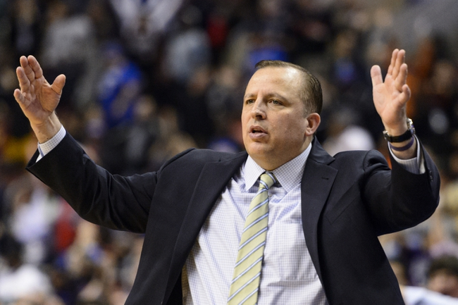 Nov 2, 2013; Philadelphia, PA, USA; Chicago Bulls head coach Tom Thibodeau during the fourth quarter against the Philadelphia 76ers at Wells Fargo Center. The Sixers defeated the Bulls 107-104. Mandatory Credit: Howard Smith-USA TODAY Sports