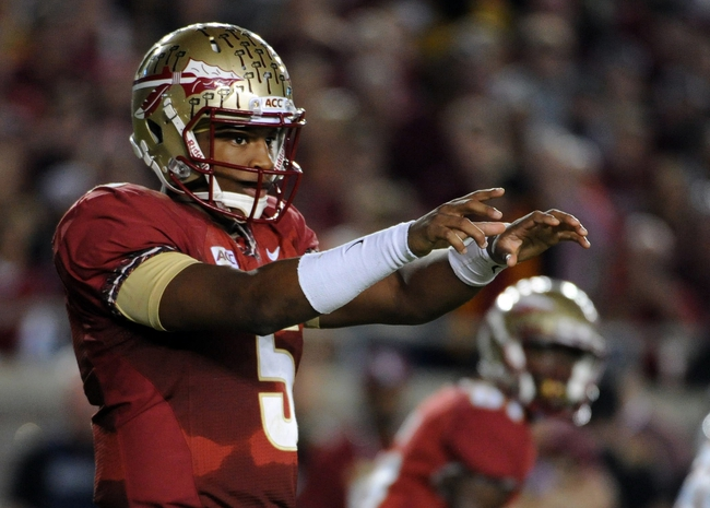 Nov 2, 2013; Tallahassee, FL, USA; Florida State Seminoles quarterback Jameis Winston (5) before a snap during the first half against the Miami Hurricanes during the first half at Doak Campbell Stadium. Mandatory Credit: Melina Vastola-USA TODAY Sports