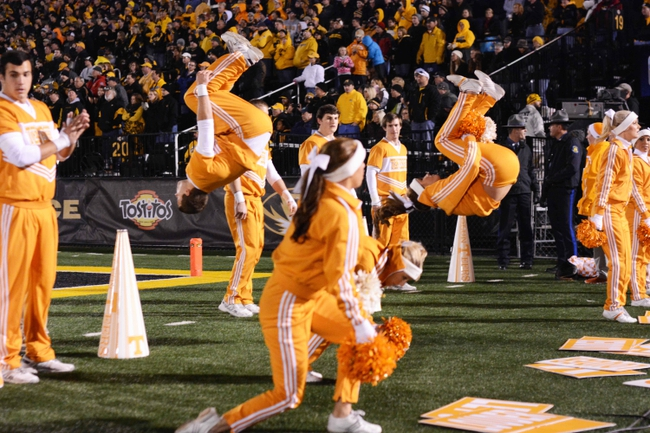 Nov 2, 2013; Columbia, MO, USA; Tennessee Volunteers cheerleaders perform for the crowd during the second half of the game against the Missouri Tigers at Faurot Field. Missouri won 31-3. Mandatory Credit: Denny Medley-USA TODAY Sports