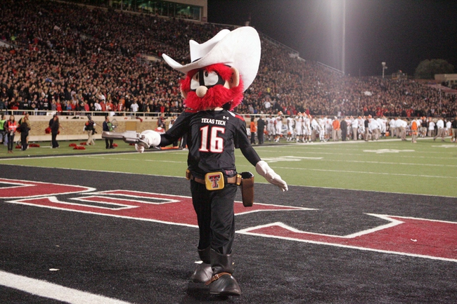 Nov 2, 2013; Lubbock, TX, USA; The Texas Tech Red Raiders mascot on the sidelines in the second half in the game with the Oklahoma State Cowboys at Jones AT&T Stadium. Mandatory Credit: Michael C. Johnson-USA TODAY Sports