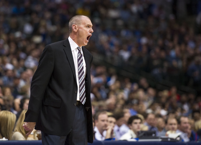 Nov 2, 2013; Dallas, TX, USA; Dallas Mavericks head coach Rick Carlisle reacts to a referee call during the second half against the Memphis Grizzlies at the American Airlines Center. The Mavericks defeated the Grizzlies 111-99. Mandatory Credit: Jerome Miron-USA TODAY Sports