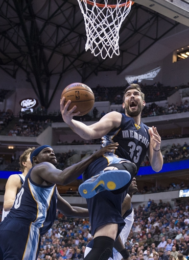 Nov 2, 2013; Dallas, TX, USA; Memphis Grizzlies center Marc Gasol (33) drives to the basket during the second half against the Dallas Mavericks at the American Airlines Center. The Mavericks defeated the Grizzlies 111-99. Mandatory Credit: Jerome Miron-USA TODAY Sports