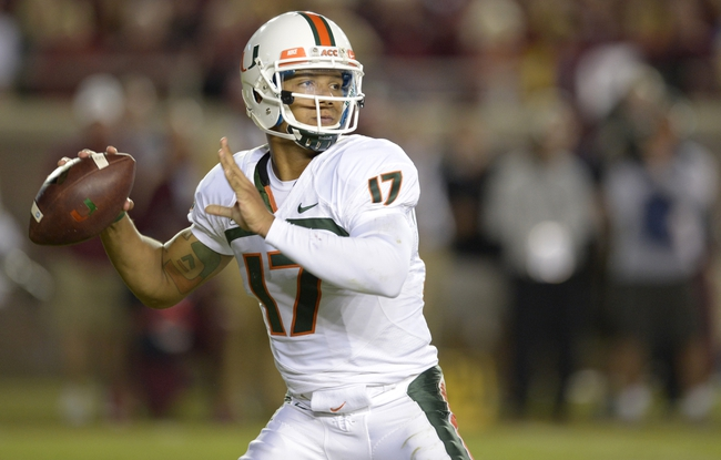 Nov 2, 2013; Tallahassee, FL, USA; Miami Hurricanes quarterback Stephen Morris (17) drops back to pass against the Florida State Seminoles during the fourth quarter at Doak Campbell Stadium. The Florida State Seminoles defeated the Miami Hurricanes 41-14. Mandatory Credit: John David Mercer-USA TODAY Sports