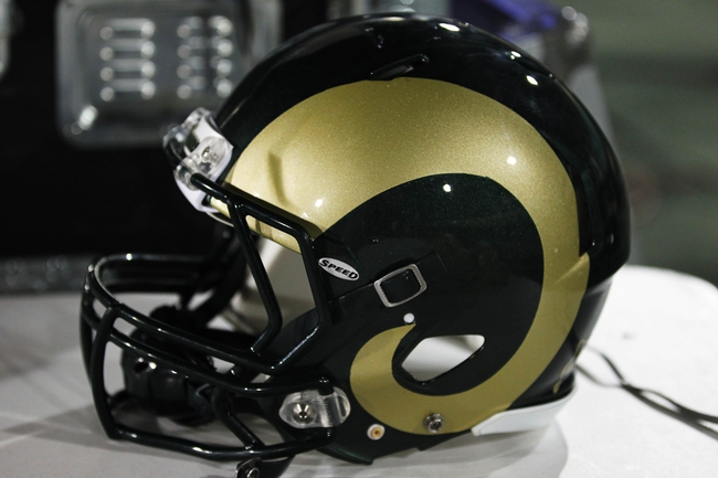 Nov 2, 2013; Fort Collins, CO, USA; A general view of the Colorado State Rams helmet at a game against the Boise State Broncos at Hughes Stadium. The Broncos defeated the Rams 42-30. Mandatory Credit: Troy Babbitt-USA TODAY Sports