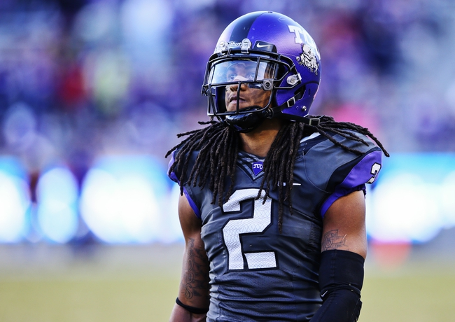 Nov 2, 2013; Fort Worth, TX, USA; TCU Horned Frogs cornerback Jason Verrett (2) during the game against the West Virginia Mountaineers at Amon G. Carter Stadium. West Virginia won 30-27. Mandatory Credit: Kevin Jairaj-USA TODAY Sports