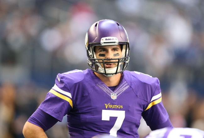 Nov 3, 2013; Arlington, TX, USA; Minnesota Vikings quarterback Christian Ponder (7) prior to the game against the Dallas Cowboys at AT&T Stadium. Mandatory Credit: Matthew Emmons-USA TODAY Sports