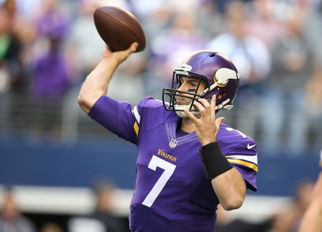 Nov 3, 2013; Arlington, TX, USA; Minnesota Vikings quarterback Christian Ponder (7) throws prior to the game against the Dallas Cowboys at AT&T Stadium. Mandatory Credit: Matthew Emmons-USA TODAY Sports