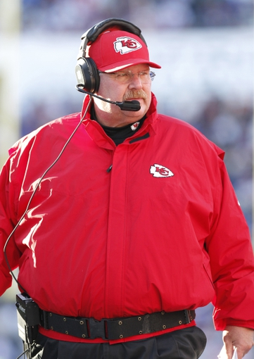Nov 3, 2013; Orchard Park, NY, USA; Kansas City Chiefs head coach Andy Reid on the sideline against the Buffalo Bills during the second half at Ralph Wilson Stadium. Chiefs beat the Bills 23-13. Mandatory Credit: Kevin Hoffman-USA TODAY Sports