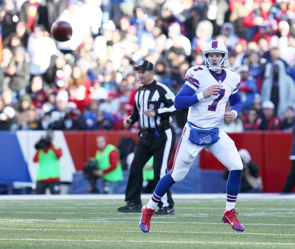 Nov 3, 2013; Orchard Park, NY, USA; Buffalo Bills quarterback Jeff Tuel (7) throws a pass during the second half against the Kansas City Chiefs at Ralph Wilson Stadium. Chiefs beat the Bills 23 to 13.  Mandatory Credit: Timothy T. Ludwig-USA TODAY Sports