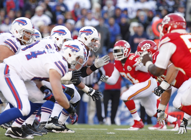 Nov 3, 2013; Orchard Park, NY, USA; The Buffalo Bills offense lines up against the Kansas City Chiefs defense during the second half at Ralph Wilson Stadium. Chiefs beat the Bills 23-13. Mandatory Credit: Kevin Hoffman-USA TODAY Sports