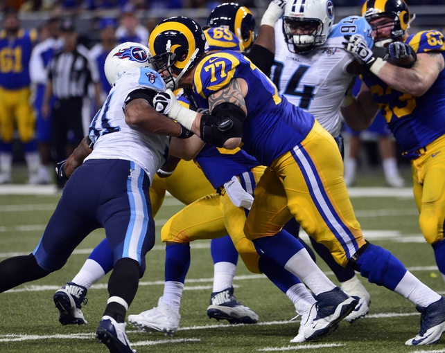 Nov 3, 2013; St. Louis, MO, USA; St. Louis Rams tackle Jake Long (77) blocks Tennessee Titans defensive end Derrick Morgan (91) during the second half at the Edward Jones Dome. The Titans defeated the Rams 28-21. Mandatory Credit: Scott Rovak-USA TODAY Sports