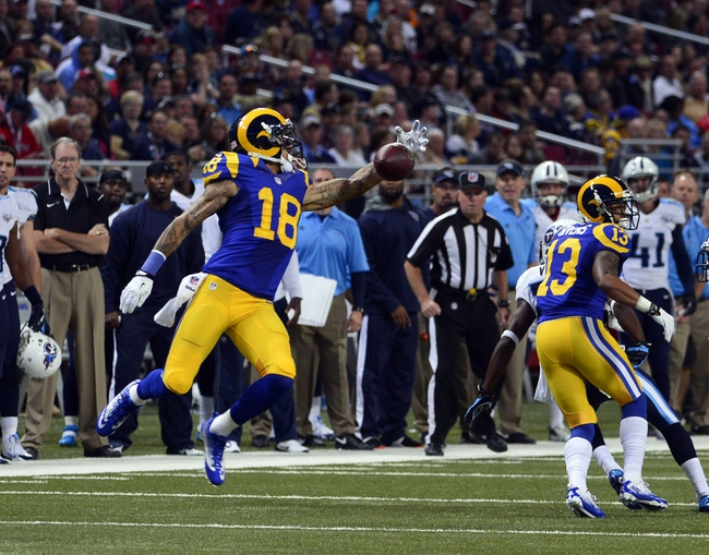 Nov 3, 2013; St. Louis, MO, USA; St. Louis Rams wide receiver Austin Pettis (18) unsuccessfully attempts a catch against the Tennessee Titans during the second half at the Edward Jones Dome. The Titans defeated the Rams 28-21. Mandatory Credit: Scott Rovak-USA TODAY Sports