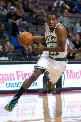 Nov 3, 2013; Auburn Hills, MI, USA; Boston Celtics shooting guard Jordan Crawford (27) during the first quarter against the Detroit Pistons at The Palace of Auburn Hills. Mandatory Credit: Tim Fuller-USA TODAY Sports