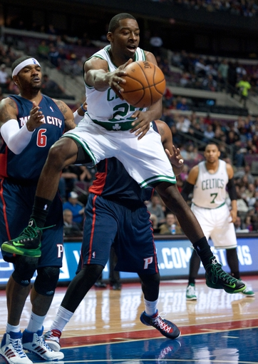 Nov 3, 2013; Auburn Hills, MI, USA; Boston Celtics shooting guard Jordan Crawford (27) during the second quarter against the Detroit Pistons at The Palace of Auburn Hills. Mandatory Credit: Tim Fuller-USA TODAY Sports