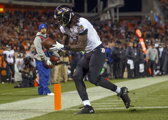 Nov 3, 2013; Cleveland, OH, USA; Baltimore Ravens wide receiver Marlon Brown (14) scores a two-point conversion in the fourth quarter against the Cleveland Browns at FirstEnergy Stadium. Mandatory Credit: Rick Osentoski-USA TODAY Sports